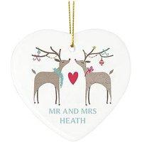 Personalised Reindeer Couple Ceramic Heart