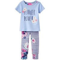 Joules 2 piece Flower Power Outfit, Sky Blue, Size 6-9 Months
