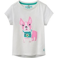 Joules Girls Pixie Screen Printed T-shirt, White, Size Age: 5-6 Years, Women