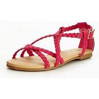 V by Very Alexa Older Girls Strap Sandal, Bright Pink, Size 3 Older