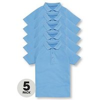 V by Very Schoolwear Boys School Polo Shirts - Blue (5 Pack), Blue, Size Age: 6-7 Years