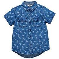 Mini V by Very Toddler Boys Acid Wash Printed Denim Shirt, Denim, Size Age: 9-12 Months