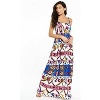 V by Very Pleated Beach Maxi Dress, Print, Size 14, Women