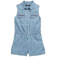 V by Very Girls Tassel Trim Playsuit, Mid Wash, Size 8 Years, Women