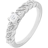 Love DIAMOND Sterling Silver Rhodium Plate 25 Point Diamond Ring, One Colour, Size L, Women