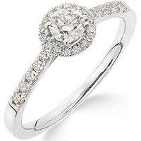 Love DIAMOND Love DIAMOND 9ct Gold 50 Points Total Diamond Halo Ring, One Colour, Size Q, Women