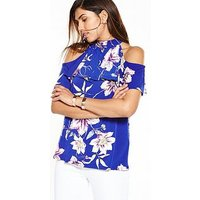 V by Very High Neck Frill Top, Blue Floral, Size 22, Women