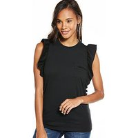 V by Very Ruffle Sleeve Cotton Tshirt, Black, Size 18, Women