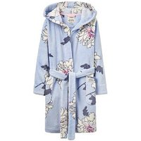 Joules Girls Nutkin Blue Printed Dressing Gowns, Blue Floral, Size Age: 5-6 Years, Women