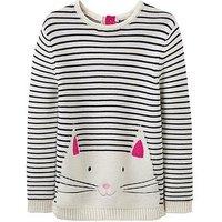 Joules Girls Winnie Cat Jumper, Stripe, Size Age: 6 Years, Women