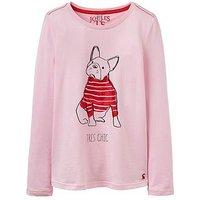 Joules Girls Bessie Bulldog Print Long Sleeve T Shirt, Rose Pink, Size Age: 7-8 Years, Women
