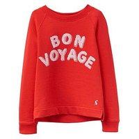 Joules Girls Mart Screenprint Sequin Sweatshirt, Red, Size Age: 11-12 Years, Women