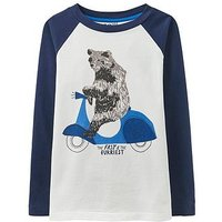Joules Boys Finlay Screenprint Long Sleeve T-shirt, Navy, Size 5 Years