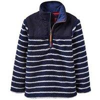 Joules Boys Woozle Half Zip Fleece, Navy Stripe, Size 6 Years