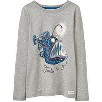 Joules Boys Raymond Glow In The Dark Long Sleeve T-shirt, Grey Marl, Size 4 Years