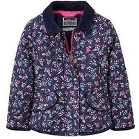 Joules Girls Newdale Print Quilted Jacket, Navy, Size 1 Year, Women