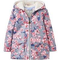 Joules Girls Floral Raindrop Waterproof Coat, Grey Floral, Size 5 Years, Women