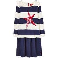 Joules Girls Lucy Sequin Sweatshirt Dress, Navy, Size 11-12 Years, Women