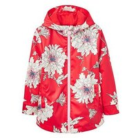 Joules Girls Raindance Floral Rubber Coat, Red Floral, Size 4 Years, Women