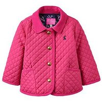 Joules Baby Girls Mabel Quilted Jacket, Bright Pink, Size 9-12 Months