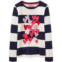 Joules Girls Ava Heart Applique Long Sleeve T-shirt, Navy Stripe, Size Age: 9-10 Years, Women
