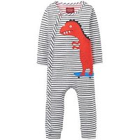 Joules Boys Fife Applique Babygrow, Stripe, Size 3-6 Months