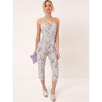 Girls on Film Strappy Printed Jumpsuit - Grey, Print, Size 10, Women