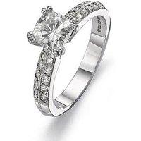 Moissanite 18 Carat White Gold 100pt Equivalent Cushion Cut Ring, Size Y, Women