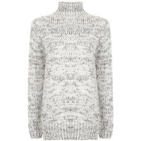Teens White Funnel Neck Long Line Knitted Jumper New Look