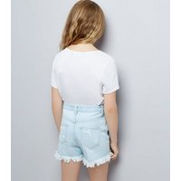 Teens Pale Blue Ripped Denim Shorts New Look