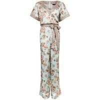 Tall Mint Green Contrast Floral Satin Lounge Jumpsuit New Look