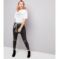 Black Beaded Floral Badge Ripped Skinny Jenna Jeans New Look