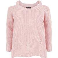 Curves Pink Cold Shoulder Ladder Knit Jumper New Look