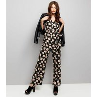 Mela Black Floral Print Jumpsuit New Look