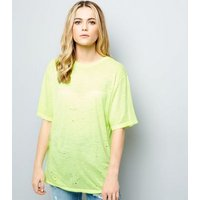 Yellow Ripped Short Sleeve T-Shirt New Look