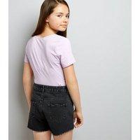 Teens Black Eyelet Trim Denim Shorts New Look