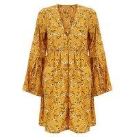 Influence Orange Floral Print Flared Sleeve Dress New Look