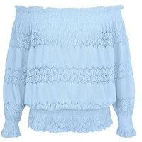 Cameo Rose Blue Crochet Lace Trim Bardot Neck Top New Look