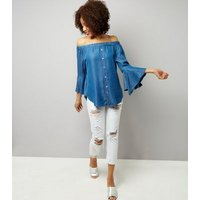 Cameo Rose Blue Denim Bardot Neck Bell Sleeve Top New Look