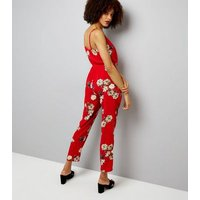 Cameo Rose Floral Print Strappy Jumpsuit New Look