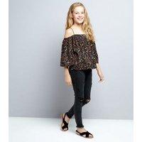 Teens Black Floral Cold Shoulder Top New Look