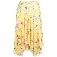 Yellow Floral Print Hanky Hem Skirt New Look
