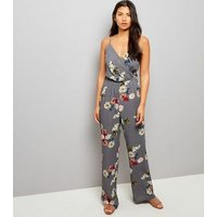 Tall Grey Floral Print Wrap Neck Jumpsuit New Look