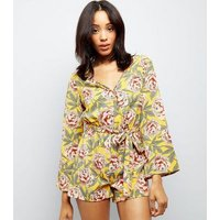 Yellow Floral Print Flare Sleeve Playsuit New Look