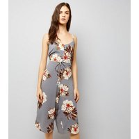 Cameo Rose Light Grey Floral Print Jumpsuit New Look