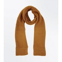 Yellow Ribbed Knit Scarf New Look