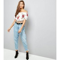 Cream Lace Floral Embroidered Bardot Neck Top New Look
