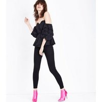 Cameo Rose Black Ruche Sleeve Bardot Neck Top New Look