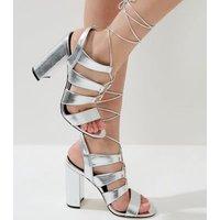 Silver Metallic Ghillie Block Heels New Look