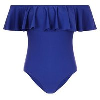 Navy Frill Trim Bardot Neck Swimsuit New Look